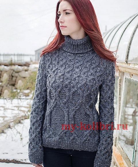 свитер спицами комбинированными косами и высоким воротником_6
