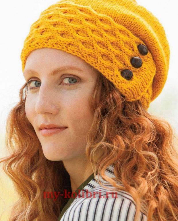 молодежные шапки на крупных спицах схемы вязания