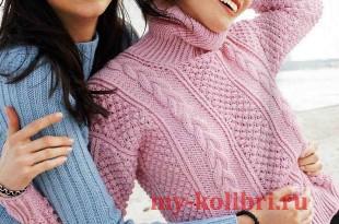 Модный свитер спицами для женщин с воротником гольф