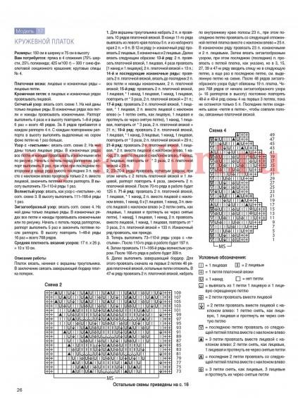 Кружевной платок спицами схема и описание_2