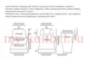 Женский пуловер спицами узором из кос- схема _5