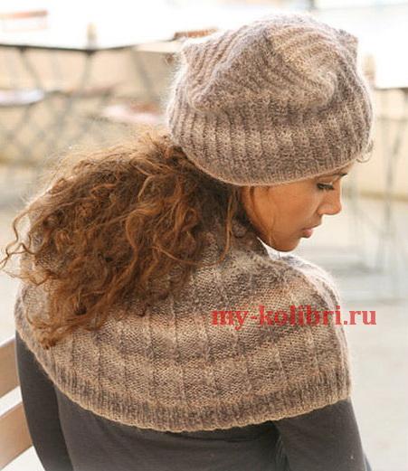 женская шапка спицами и пелерина в рубчик_1