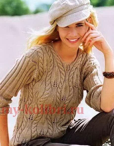 Пуловер спицами с рельефными листочками_2