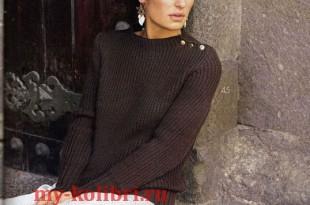 свитер спицами резинкой и пуговицами _3