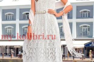 Ажурное платье спицами для женщин длины макси_1