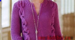Жакет спицами для женщин с застежкой-молнией 1