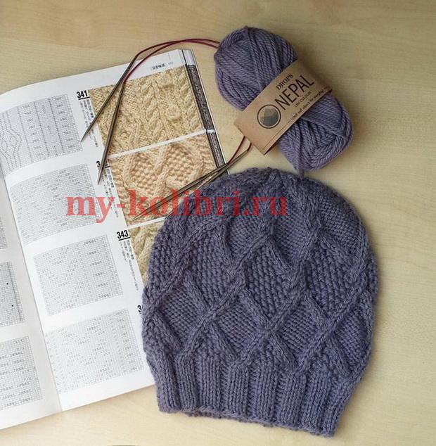 Модная шапка спицами Непал  из Дропс фото_3