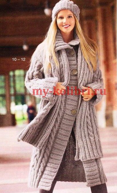Пальто, шарф и шапка спицами фото_3