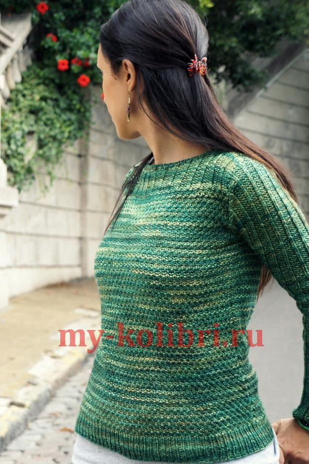 Вязаный пуловер с вырезом лодочка