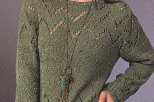 пуловер спицами узором из треугольников 2