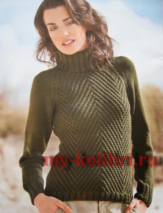 Модный свитер спицами узором «елочка»3