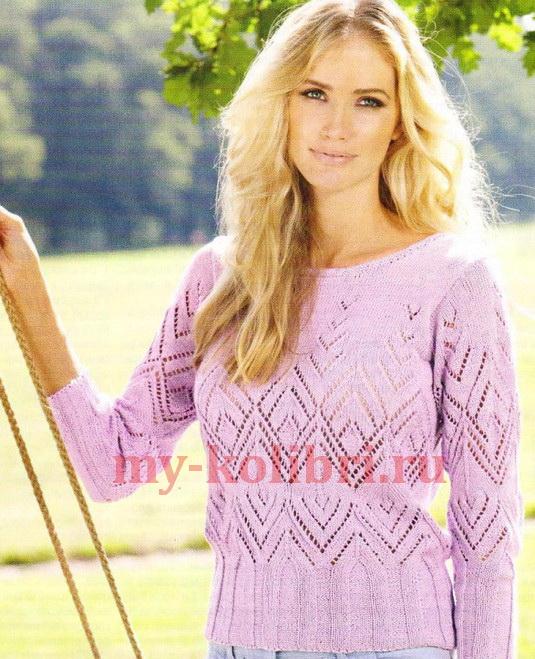 Нежный ажурный пуловер спицами _2