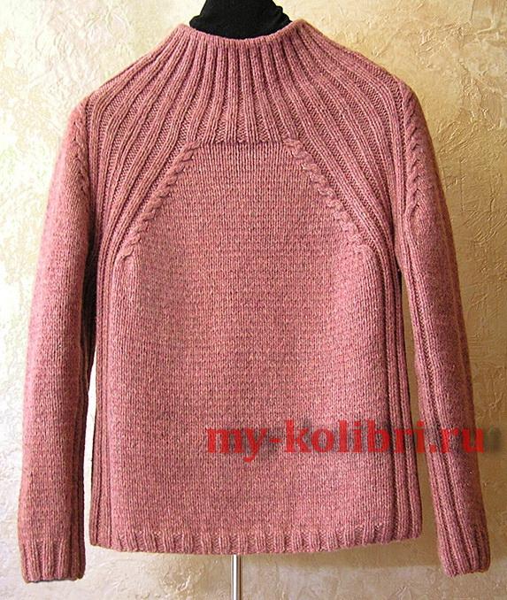 Простой свитер спицами лицевой гладью и рукавом реглан фото_1