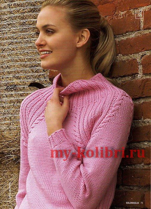 Простой свитер спицами лицевой гладью и рукавом реглан фото_2