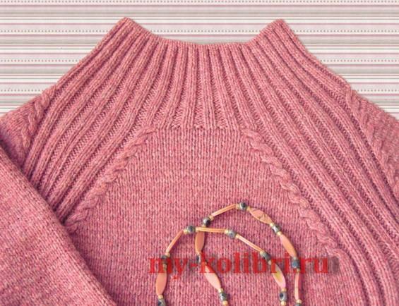 Простой свитер спицами лицевой гладью и рукавом реглан фото_3