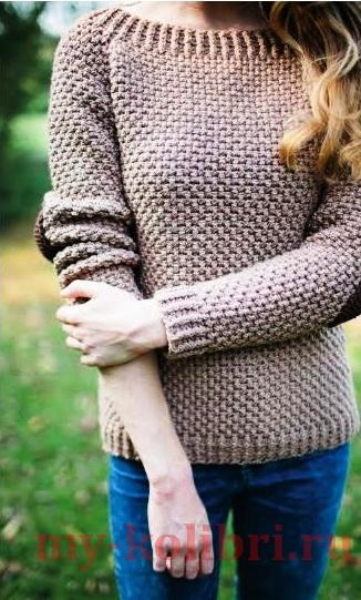 Стильный пуловер спицами Elbow Patches фото_1
