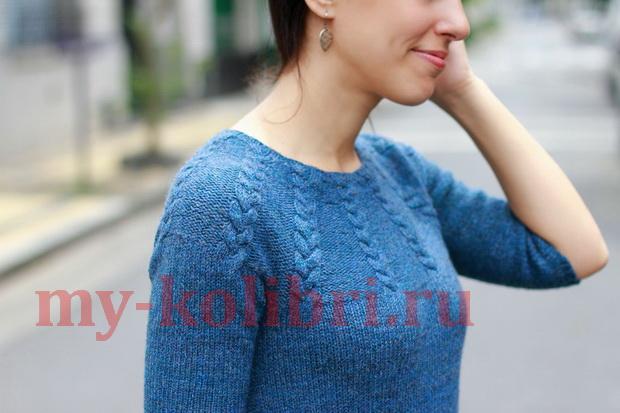 Теплое платье спицами платочной вязкой и кокеткой з кос фото_2