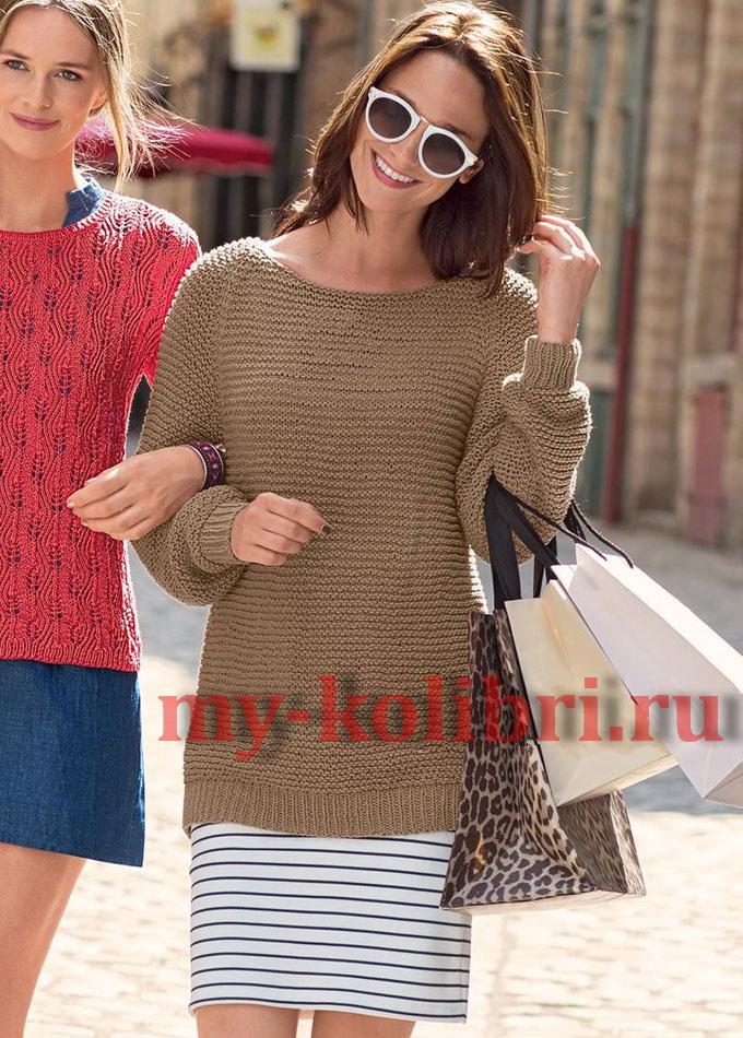 Удлиненный свитер спицами платочной вязкой_2