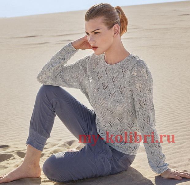 Ажурный свитер спицами из ленточной пряжи
